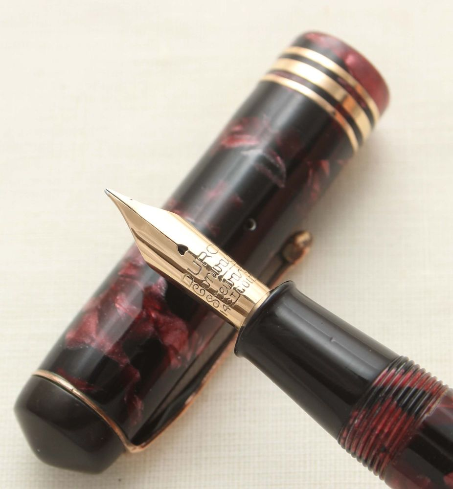 9512 Conway Stewart No.55 in Burgundy Marble. Extra Fine FIVE STAR Nib.