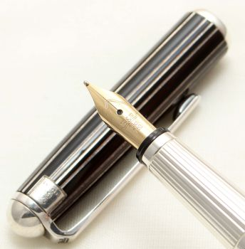 9547 Bossert and Erhard Sterling Silver Fountain Pen. Medium FIVE STAR Nib. Mint and Boxed.