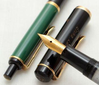 9519 Pelikan M150 Fountain Pen and Ball Pen Set in Black and Green. Fine Nib.