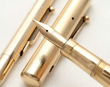 9526 - Swan (Mabie Todd) Self Filling Fountain Pen and matching Pencil in Gold Plate. Fine Semi Flex FIVE STAR Nib.