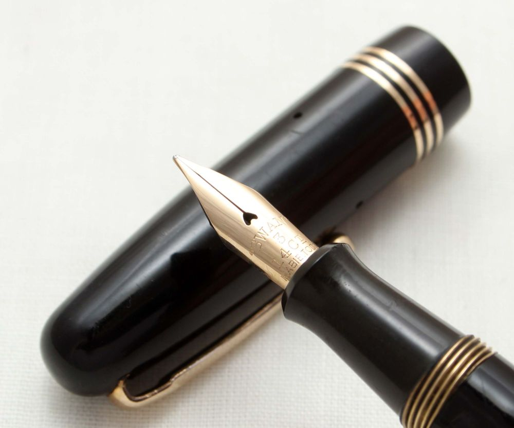 9528 Swan (Mabie Todd) Self Filler 3360 Fountain Pen in Black. Smooth Fine