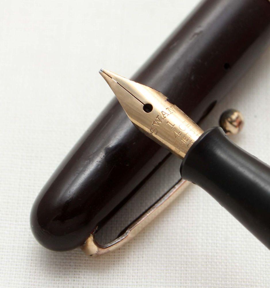 9550 Swan (Mabie Todd) Self Filler 3150 Fountain Pen in Dark Burgundy. Supe