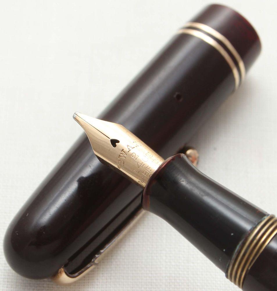 9553 Swan (Mabie Todd) Self Filler 3250 Fountain Pen in Dark Burgundy. Smoo