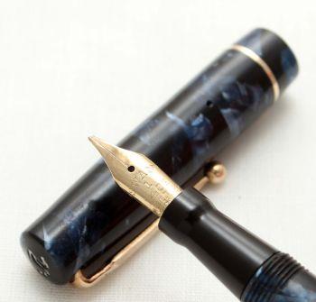 9557 Swan (Mabie Todd) Self Filler 6142 Fountain Pen in Blue Marble. Smooth Medium Flex FIVE STAR Nib.