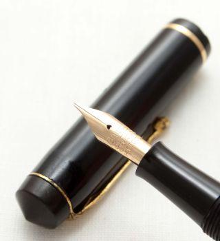 9561 Conway Stewart No.759 in Classic Black. Fine Side of Medium FIVE STAR Nib.