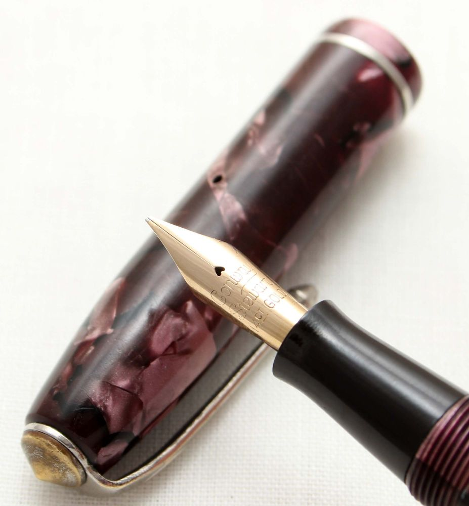 9573 Conway Stewart No.75 in Lilac Marble. Fine Oblique FIVE STAR Nib.