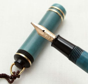 9578 Rare early Conway Stewart Dinkie No.526 in Pale Blue - Smooth Broad Italic Nib.
