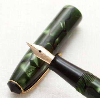 9579 Conway Stewart No.14 in Green Marble,  Medium Nib.