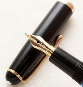 9591 Montblanc No.344 Piston filling Fountain Pen in Classic Black. Medium Italic FIVE STAR Nib.