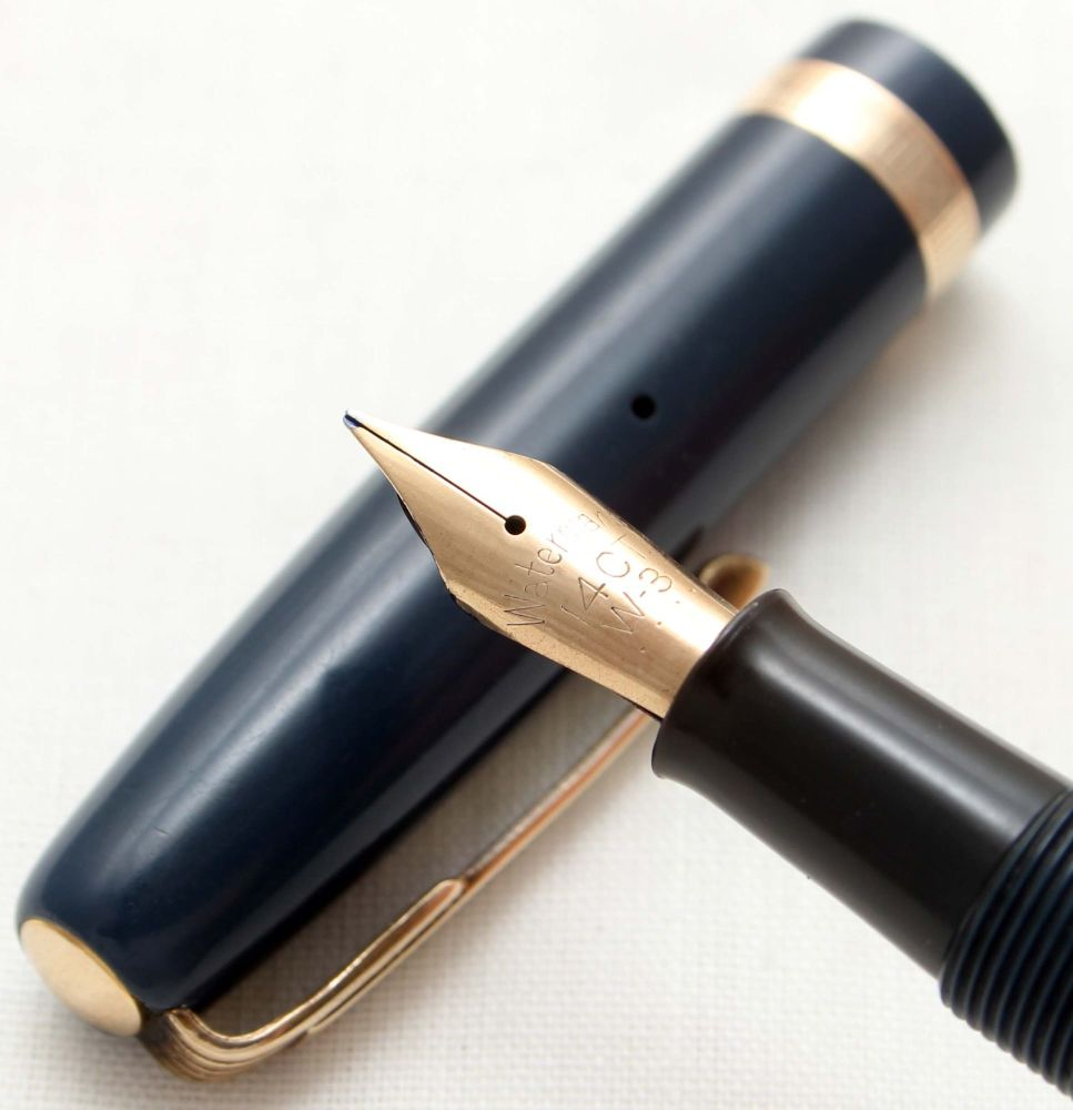9602 Watermans W3 Fountain Pen in Blue with Gold filled trim, Smooth Fine F
