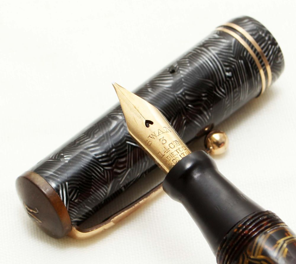 9488 - Swan (Mabie Todd) Visofil Fountain Pen in Grey Hatched Marble, c.193