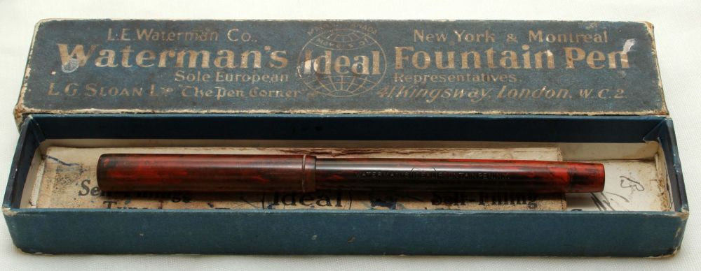 9657 Watermans Ideal No.12 1/2 Eyedropper in Red Ripple. c1915. Fabulous Me
