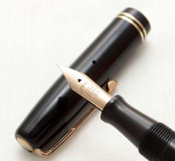 9659 Watermans W2 Fountain Pen in Black,  Medium Flex FIVE STAR Nib.