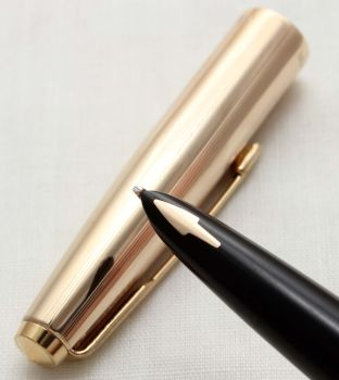 9661 Parker 61 Custom Fountain Pen in Classic Black with a Rolled Gold Cap. Medium FIVE STAR Nib.