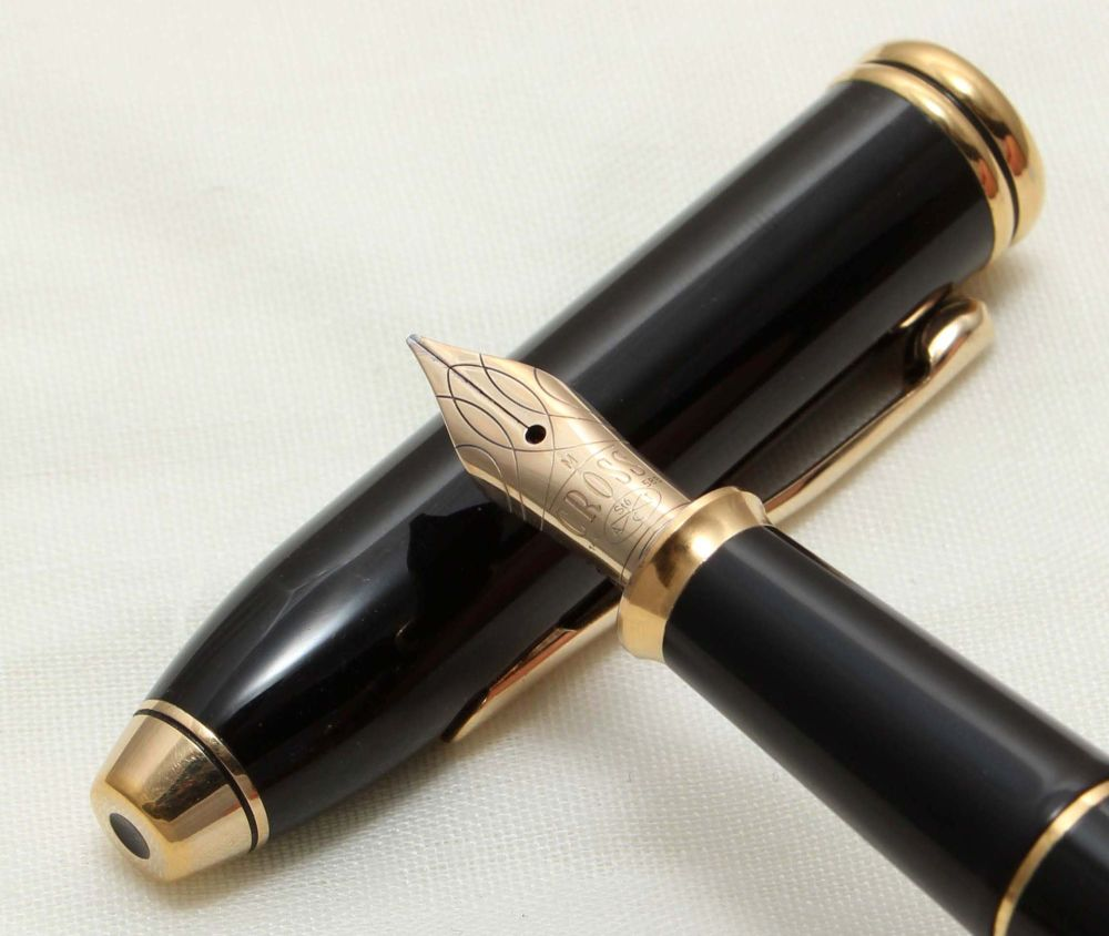 9695 AT Cross 'Townsend' Fountain Pen in Black Lacquer. Broad FIVE STAR Nib