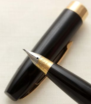 9704 Sheaffer Imperial Touchdown Fountain Pen in Classic Black, Smooth Fine FIVE STAR Nib.
