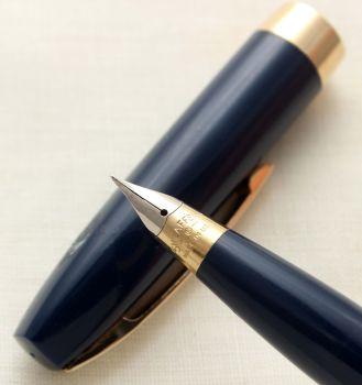 9708 Sheaffer Imperial Touchdown Fountain Pen in Blue, Smooth Fine FIVE STAR Nib.