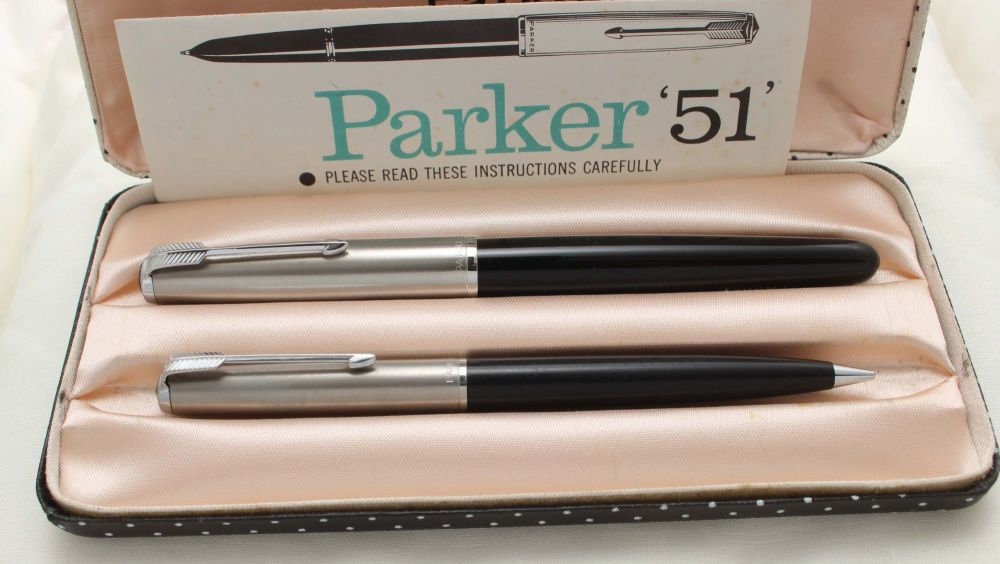 9716 Parker 51 Double Set in Classic Black with Lustraloy caps. Mint with C