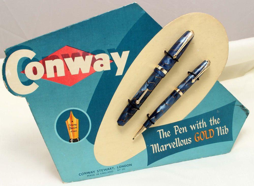 9756 Rare Conway Stewart 84 set on an Original Advertising Board. Fine Nib.