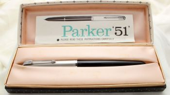 9758 Parker 51 Aerometric in Black with a lustraloy cap. Smooth Extra Fine FIVE STAR Nib. Mint and Boxed.