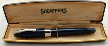 9763 Sheaffer PFM I Fountain Pen in Blue with Chrome trim. Superb Extra Fine FIVE STAR Nib. Mint and Boxed.