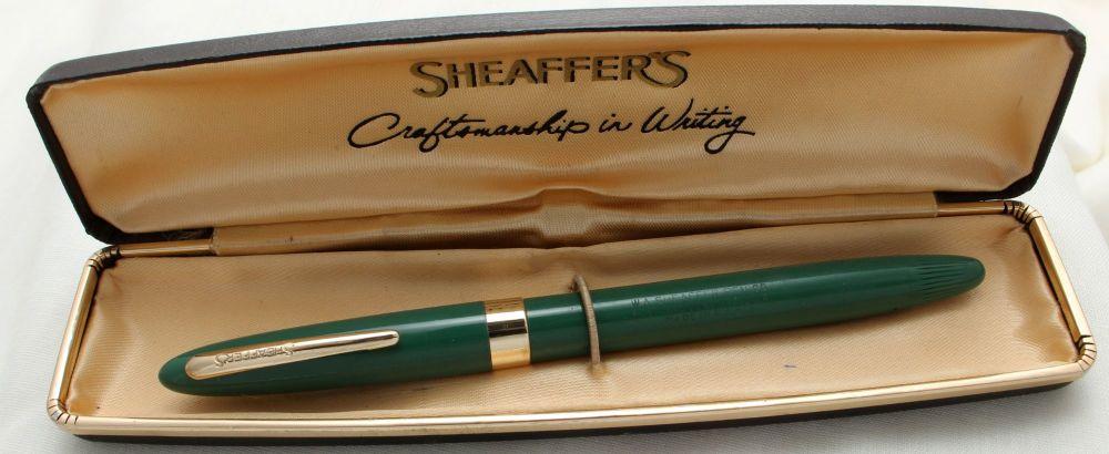 9764 Sheaffer Admiral Snorkel Fountain Pen in Pastel Green, c1952, Smooth M