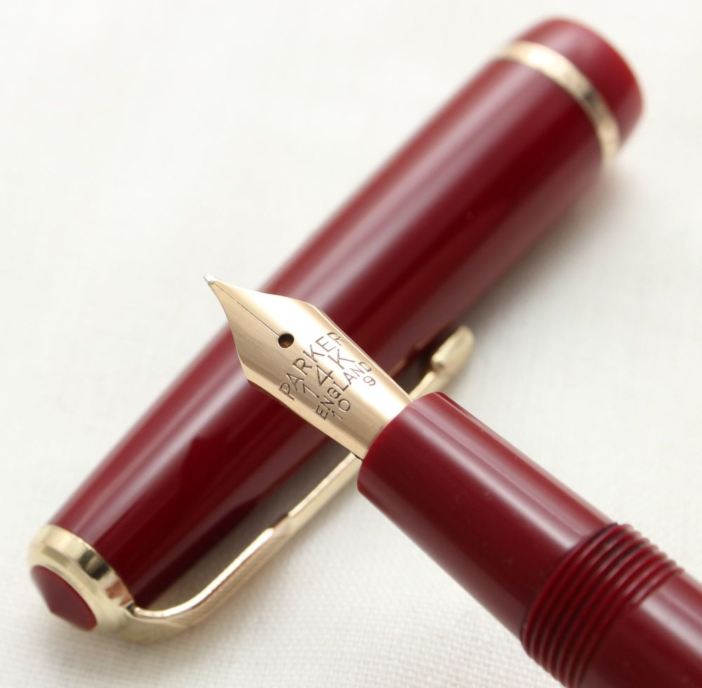 9768 Parker Duofold Junior in Burgundy, c1965. Smooth Extra Fine FIVE STAR
