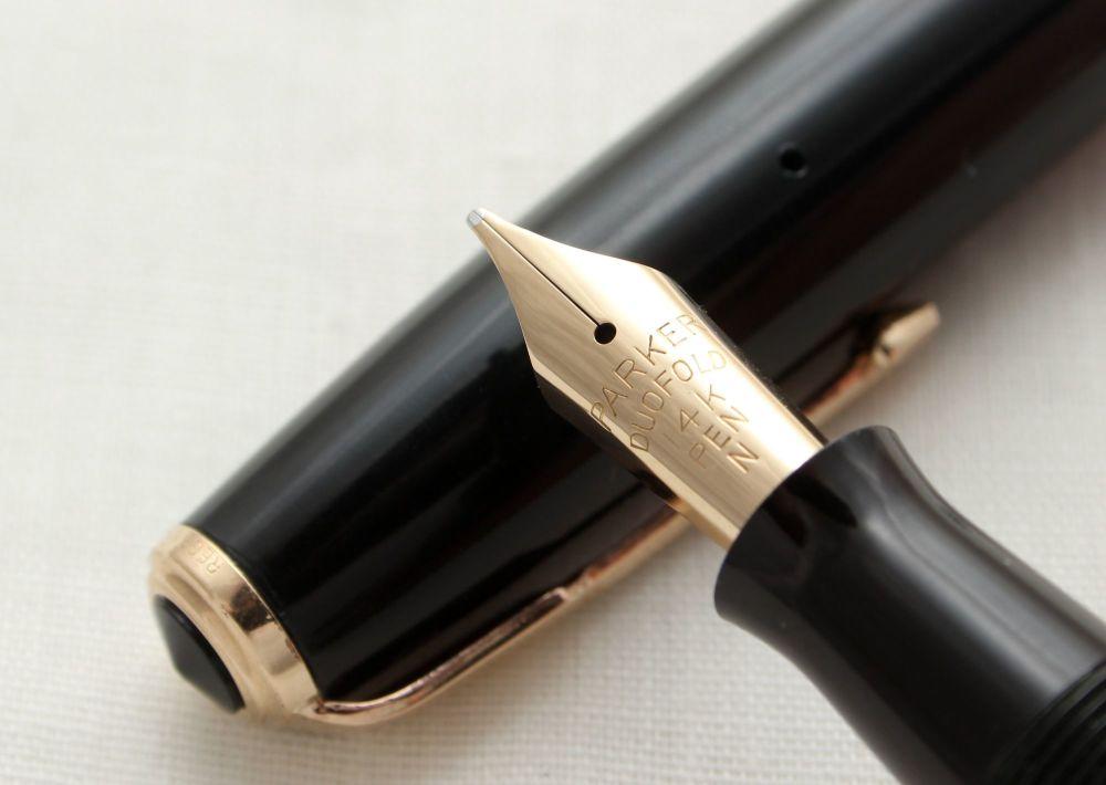 9771 Parker Duofold AF Button Filler in Classic Black. Fine side of Medium