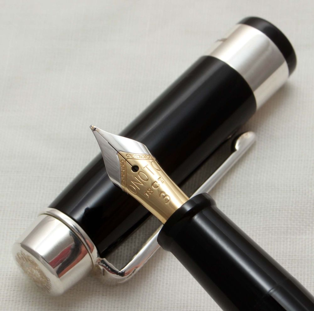 9809 Onoto Excel Black Sterling Silver Limited Edition Fountain Pen.  Custo
