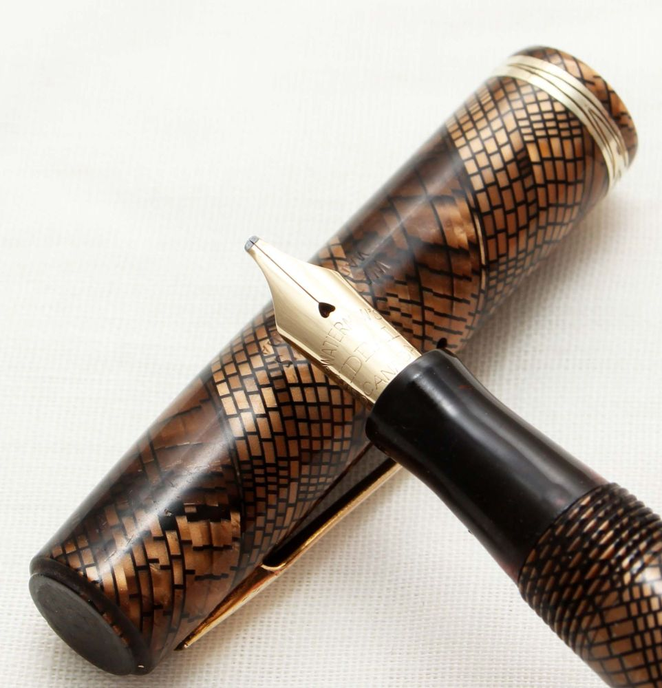 9810 Rare early Watermans Ideal No.92 in Brown Snakeskin. Fabulous Broad It