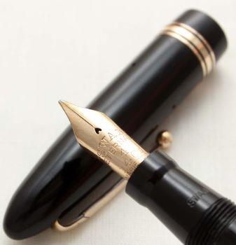 9832 Swan (Mabie Todd) Leverless Fountain Pen in Black. Smooth Medium FIVE STAR Nib.