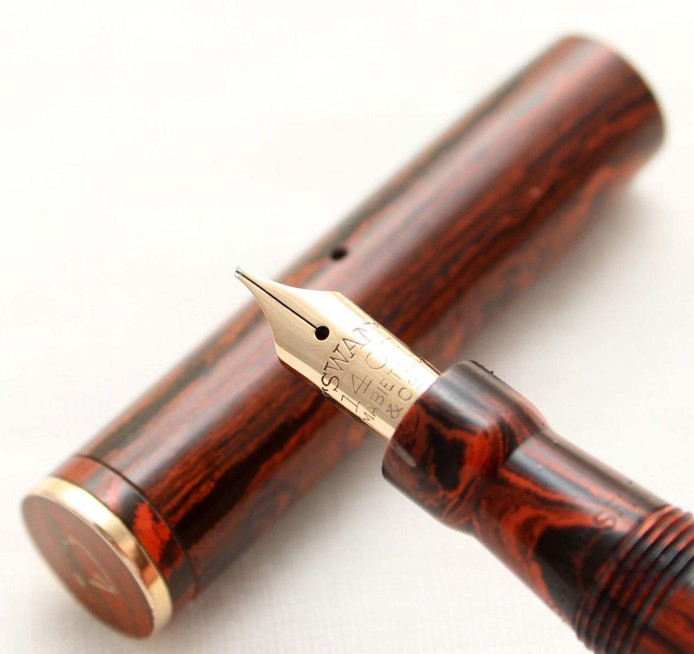 9855. Superb Early Swan (Mabie Todd) 130B/61 Fountain Pen in Woodgrain (Mot