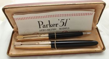 9888 Parker 51 Double Set in classic Black with Rolled Gold caps. Mint and Boxed. Medium Nib.