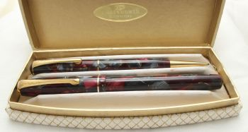 9887 The Chatsworth Pen Set in Burgundy and Grey Marble, Smooth Fine FIVE STAR Nib.