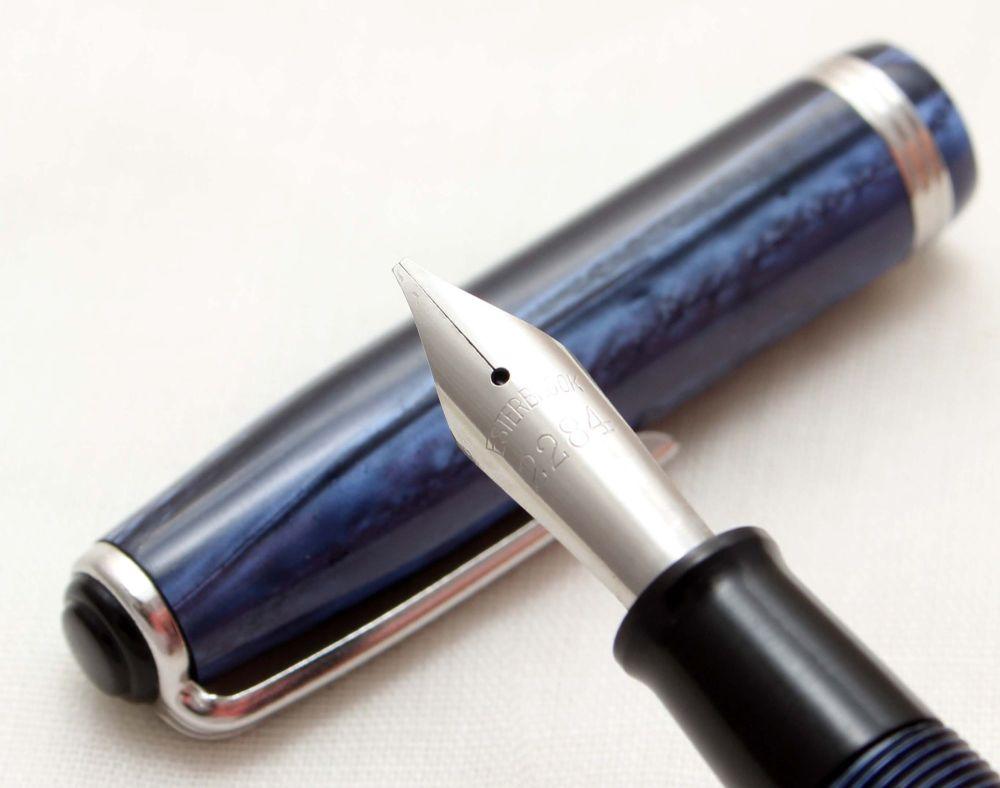 9882 Esterbrook SJ Fountain Pen in Blue Marble. Fabulous Broad Italic Five