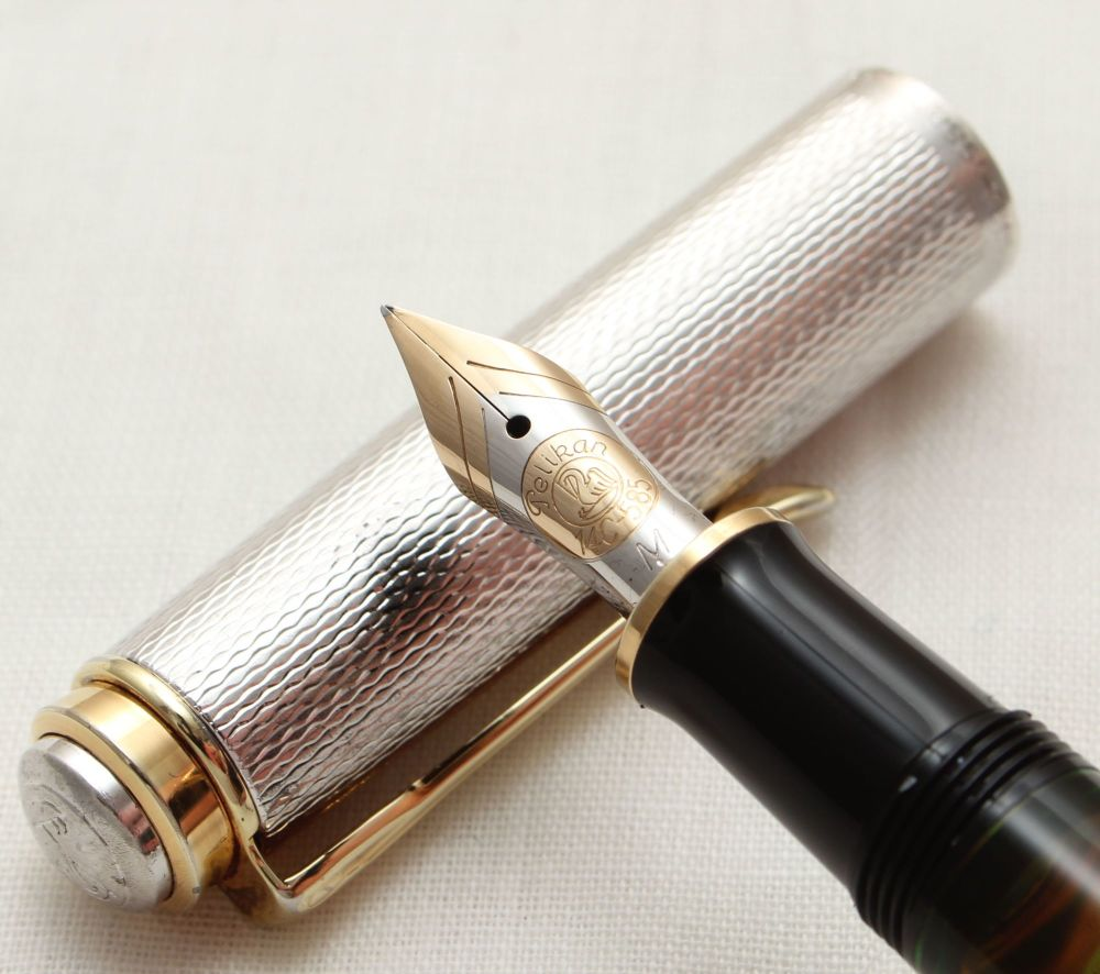 9904 Pelikan M750 Anniversary Fountain Pen in Sterling Silver with Gold fil