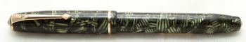 9897 Esterbrook Relief No.12 Fountain Pen in Green Hatched Marble (Made by Conway Stewart). Medium Italic FIVE STAR Nib.