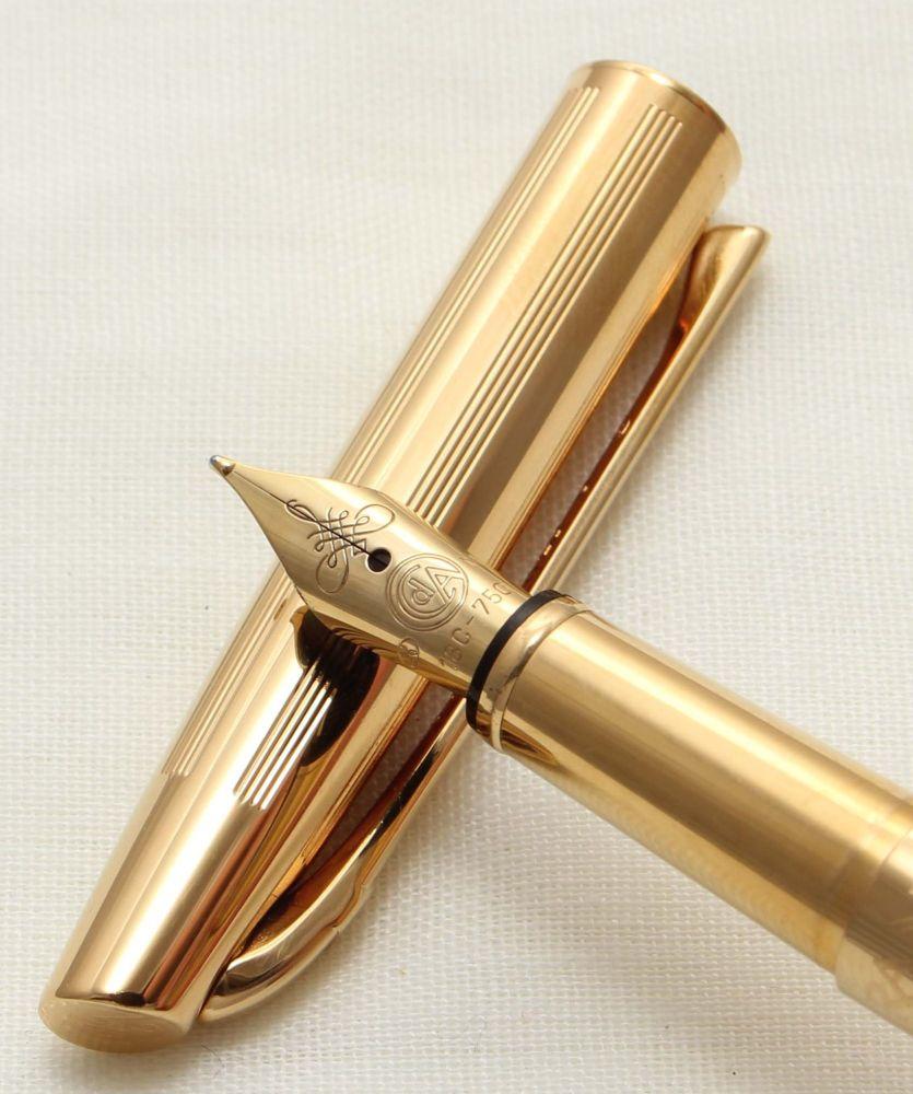 9538 Caran D'Ache Madison Cisele Fountain Pen in Gold Plate. Medium FIVE ST