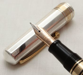 9905 Omas Paragon Fountain Pen in Sterling Silver. Medium FIVE STAR Nib.