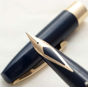 9912 Sheaffer Imperial Fountain Pen in Blue, Smooth Fine side of Medium FIVE STAR Nib.
