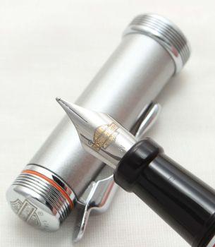 9930 Watermans Harley Davidson Fountain Pen in Brushed Stainless Steel. Smooth Medium Nib.