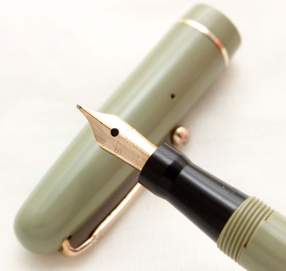 9959 Swan (Mabie Todd) Self Filler 3172 Fountain Pen in Olive Green with Go