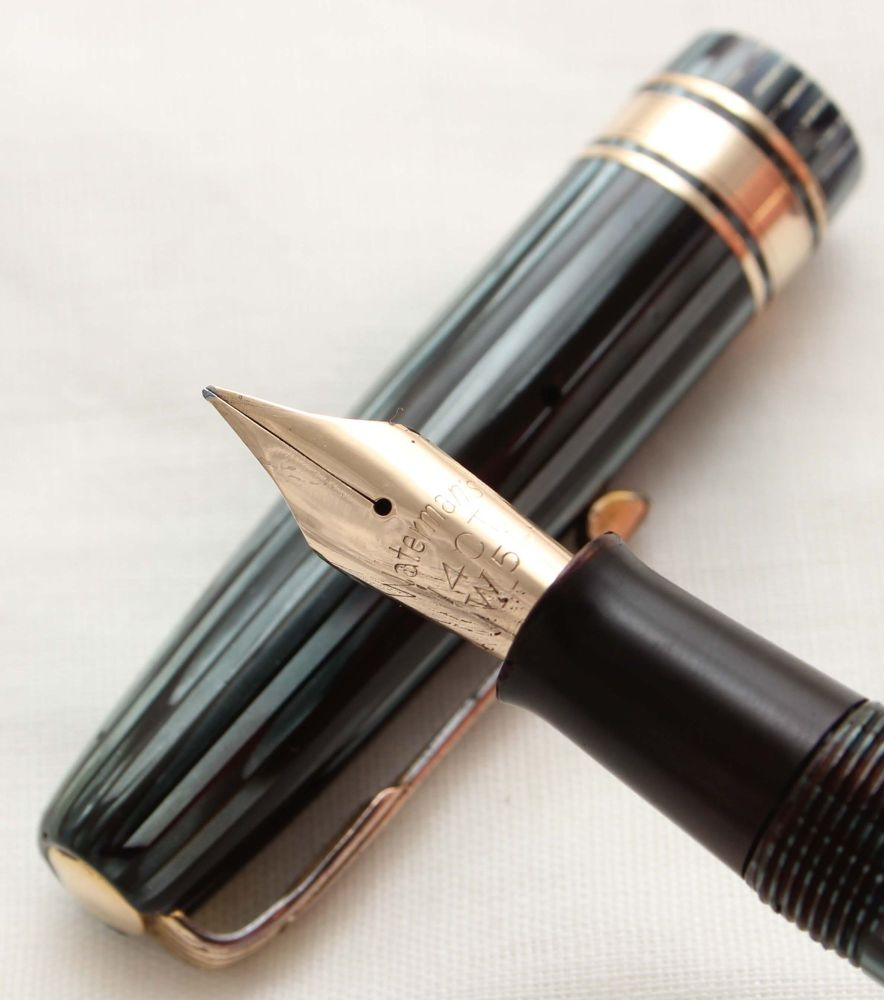 9967 Watermans W5 Fountain Pen in Blue and Black striped Marble, Broad Semi