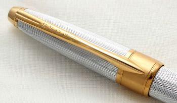 9970 AT Cross Apogee Ball Pen in Chrome Barley with Gold plated trim.