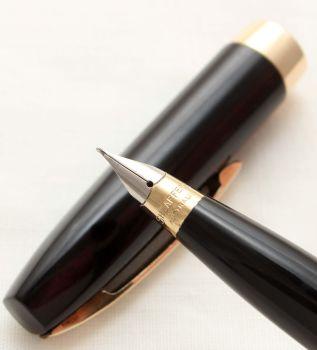 9975 Sheaffer Imperial Touchdown Fountain Pen in Classic Black, Smooth Fine side of Medium FIVE STAR Nib.