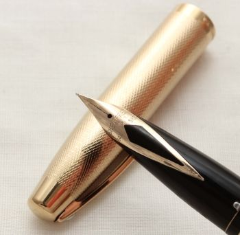 9979 Sheaffer Imperial Fountain Pen in Gold Plated Fine Barley, Smooth Fine FIVE STAR Nib.