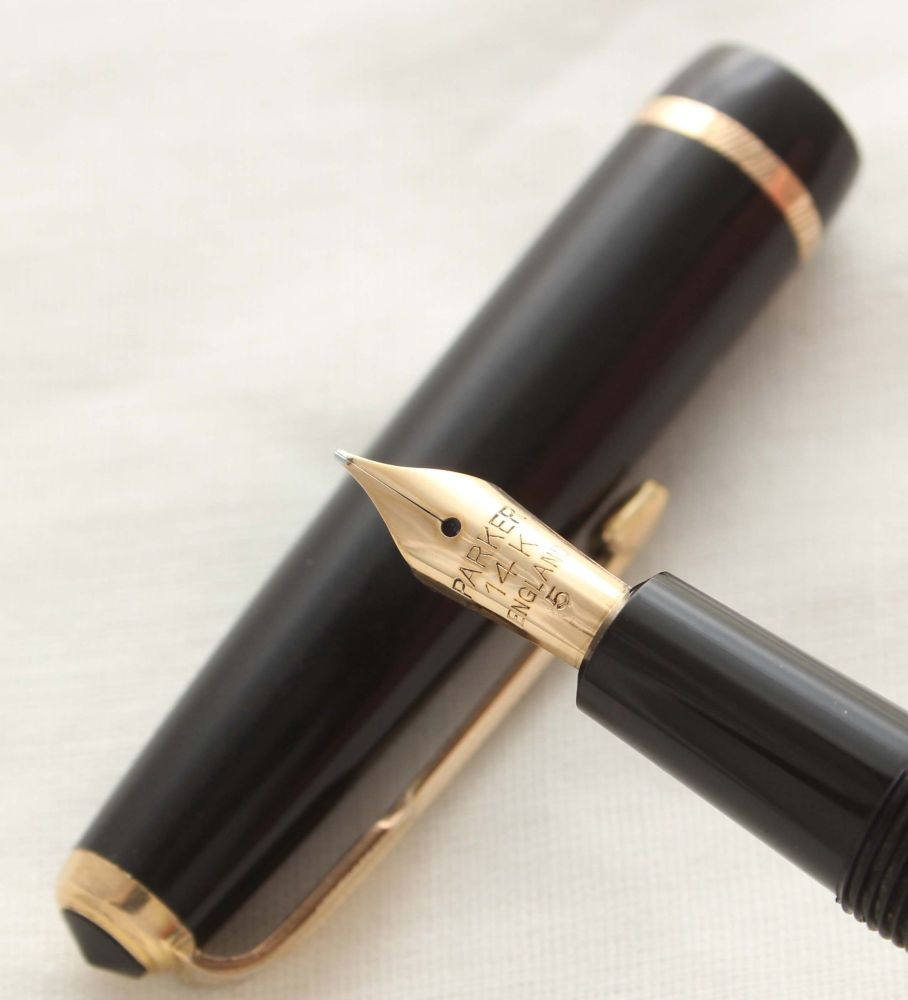 9993 Parker Duofold Slimfold in Black, Fantastic Medium FIVE STAR Nib.