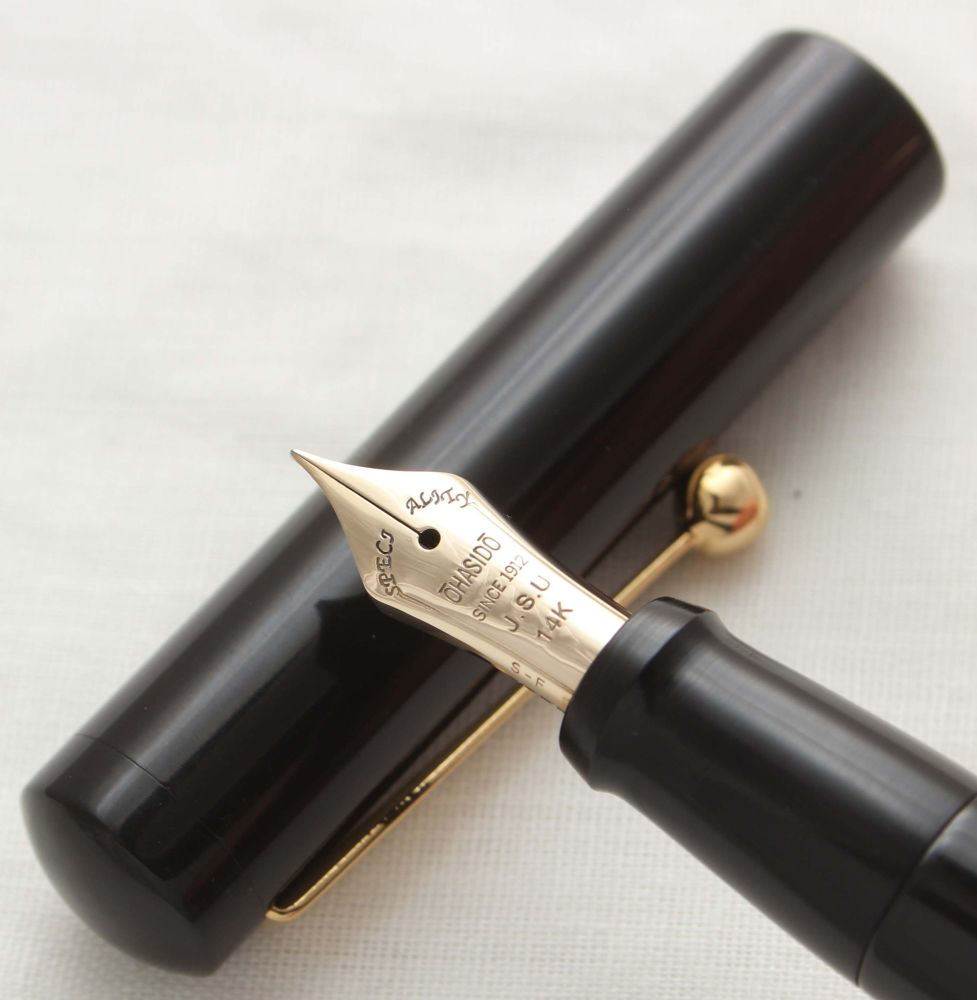 3032 Rare Ohasido Hand Made Fountain Pen in Black Urushi Lacquer. Smooth Fi