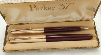 3030 Parker 51 Double Set in Burgundy with Rolled Gold caps. Mint and Boxed. Medium Nib.