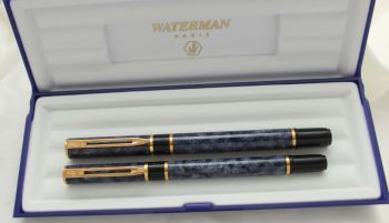 3043 Watermans Laureat Fountain Pen and Rollerball set in Blue Marble, Medium Nib. Mint and Boxed.